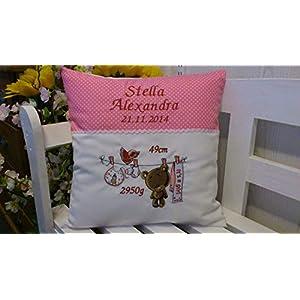 Kissen mit Namen zur Geburt (Teddy girl rosa)