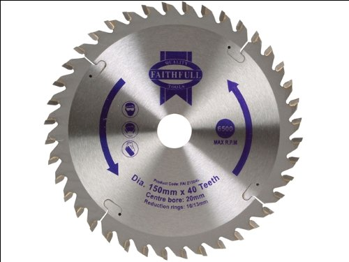 carbide saw blade. faithfull tungsten carbide tipped circular saw blade 150 x 20 40t: amazon.co.uk: diy \u0026 tools
