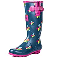 Onlineshoe FBA - Funky Flat Wellie Wellington Festival Rain Boots - Assorted Colours
