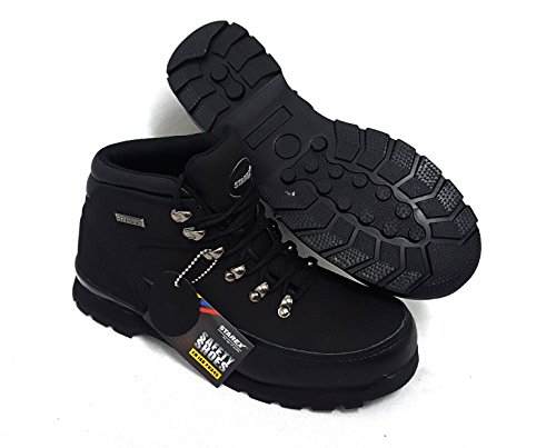 Scarpe antinfortunistiche unisex, con punta in acciaio, in pelle, Sand, 11 Black