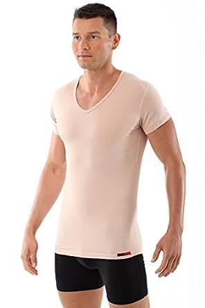 "ALBERT KREUZ Hautfarbenes Unterhemd / Herrenunterhemd ""unsichtbar"" V-Ausschnitt Stretchbaumwolle Nude 4/S"