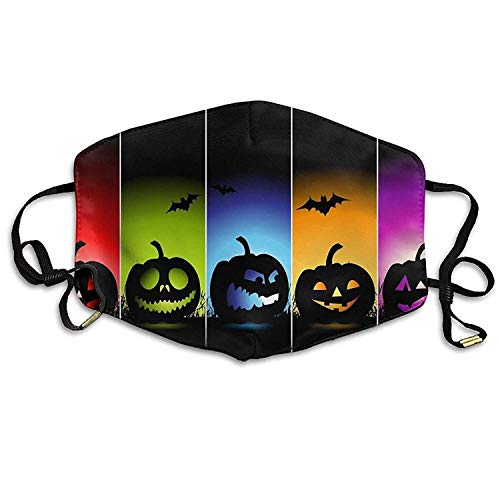 Fashion Outdoor Mouth Mask with Design, Reusable Half Face Mask Anti-dust Mask, Funny Happy Halloween Background Anti Dust Anti Pollution Masks Suitable for Man Woman (Designs Halloween Paper Bag)