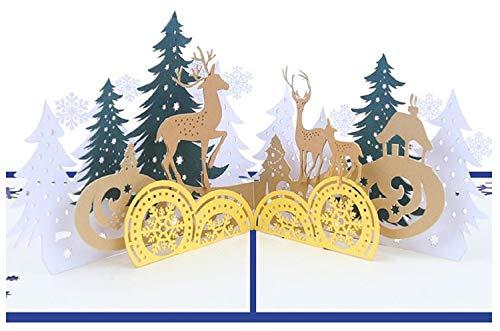 BC Worldwide Ltd handgemachte 3D Pop-up Weihnachtskarte Rentier Familie Wald Baum im Freien Schneeflocke Land Cottage Tisch Ornament Hauptdekoration Gruß Geschenk