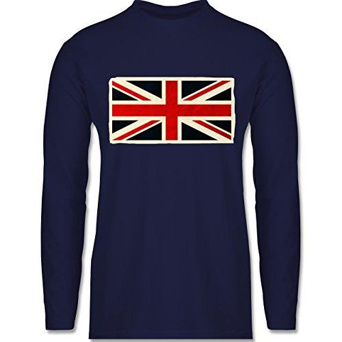 Shirtracer Länder - Flagge Großbritannien - Herren Langarmshirt Navy Blau
