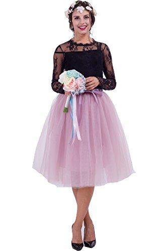 SCFL Damen Tutu Rock Midi Tüll Röcke 7 Schichten Petticoat Underskirt Ballett Rock mit Elastikgürtel für Hochzeitsfeier