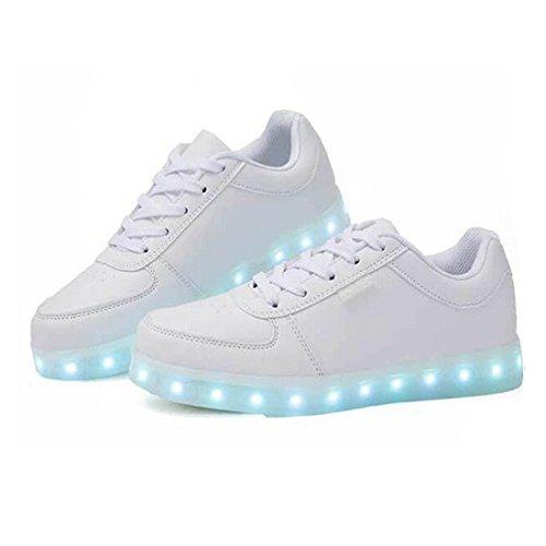 YUHUAWYH Hommes Et Femmes 7 Couleur LED Charging Chaussures Casual Chaussures LED Chaussures De Marche Blanc