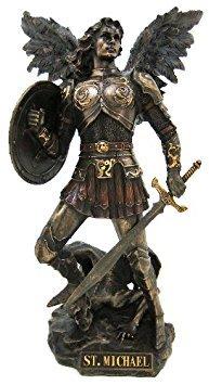 Erzengel St. Michael Statue Real Bronze Powder Guss Skulptur 12½ Zoll (Polizei-statue)