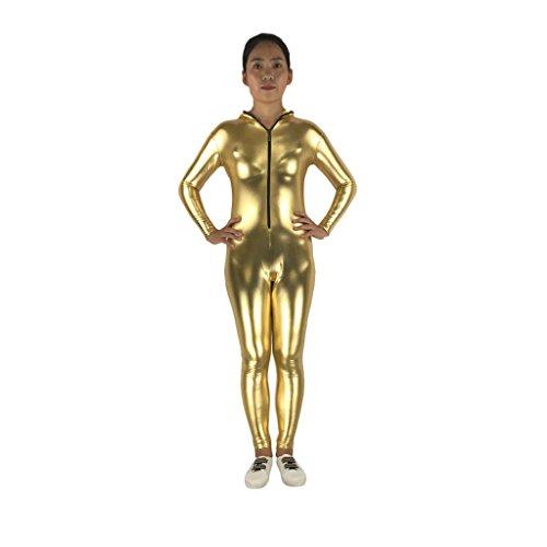 Gold Kostüm Unitard - MagiDeal Beschichtet Ganzkörper Zentai Ganzkörperanzug Anzug Suit Kostüm Unitard Trikotanzug Kleid mit Kapuzen - Gold, L