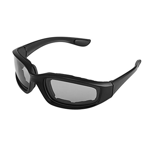 Yxaomite Motorcycle Glasses Men Padded Foam Goggles With Antifog UV Protection Lens Windproof Dustproof Unbreakable Sunglasses Sports Protective Safety Black
