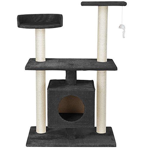[en.casa] Katzen Kratzbaum (ca. 60 x 40 x 95 cm)(grau) Kuschelhöhlen / Aussichtsplatformen / Sisal / mit vielen Spiel – und Kuschelmöglichkeiten - 2