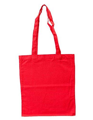 XT003 - Baumwolltasche farbig, zwei lange Henkel / Rot ca. HKS 13/14, ca. 38 ... (Tragetasche Rote)