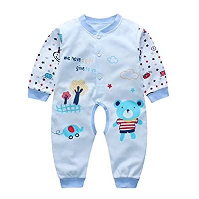 Neugeboren Niedlich Overall Klettern Kleider Baby Junge Mädchen Karikatur Lange Hülse Spielanzug_Hirolan