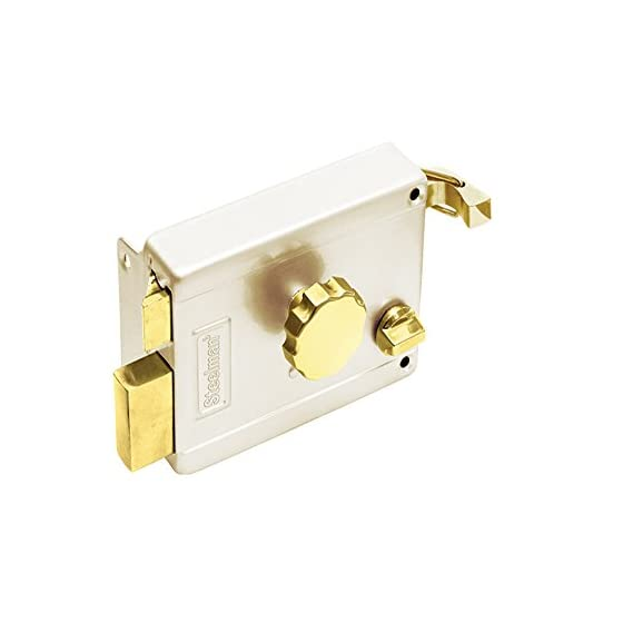 Steelman Brass and steel Rim latch lock for outside opening door (Kitchen and Home) with regular Door keys ivory color