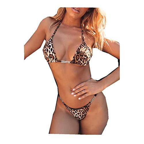 Casual Sexy Beachwear Leopard Zweiteiler Split Bikini Set Reise Party Supplies (L)