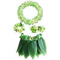 Amosfun Hawaii Tropical Hula Conjunto de Falda de Hierba Dressup Flor Pulseras Head Loop Cuello Conjunto de Corona Conjunto de Vestuario de Rendimiento 5PCS