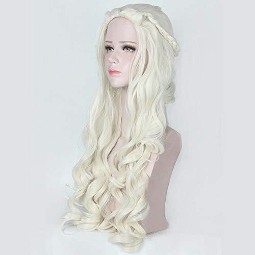 Für Mütter Heiße Kostüm - GKGKLA Game of Thrones Daenerys Targaryen Cosplay Perücke Kunsthaar Lange Wellen Drache Der Mutter Perücken Frauen Halloween Party Kostüm, Cremefarben