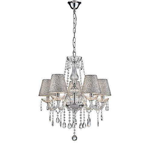 Lampada da soffitto moderna in vetro cristallo saint mossi con 5 luci e base in argento con finitura e14