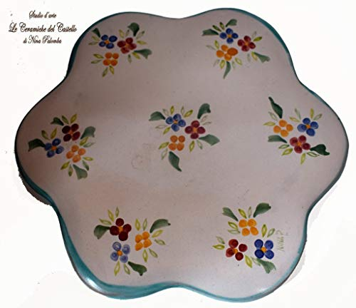 Sottopentola Linea Fiori misti Bordo Verde Dimensioni 21 x 21 cm. Realizzato e dipinto a mano Le Ceramiche del Castello Made in Italy Pezzo Unico
