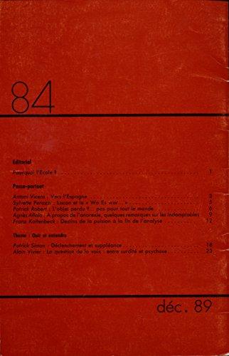 Lettre mensuelle N 84 , Dcembre 1989 : Our et entendre - Sommaire dans l'image - Textes de Patrick Simon, Alain Vivier ...