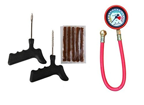 Jagger Universal Tubeless Tyre Repair Puncture Kit with 5 Rubber Strips & Tyre Air Pressure Dial Gauge Combo for All the Cars, Bikes & Other Vehicles