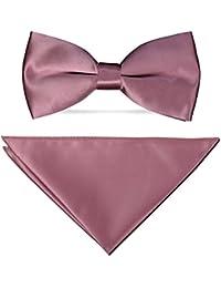 PABLO CASSINI Nœud Papillon avec Mouchoir - 35 couleurs - Solide Pour Mariage Satin Costume Smoking arc neuf