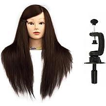 Maniquí de Cabeza para practicas de peluquería con cabello pelo real 90% 56cm (con soporte)-CoastaCloud