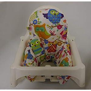 Sitzverkleinerer-Bezug IKEA-Hochstuhl - abwaschbar, Eule bunt, beschichtet*