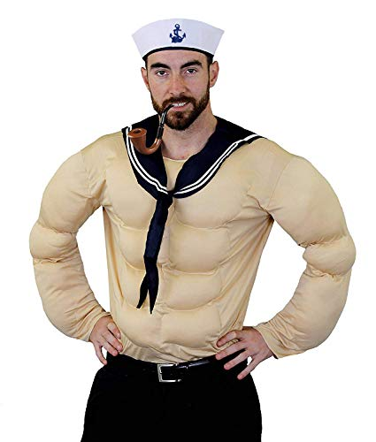 Muskeln Popeye Kostüm - SPINAT SEEMANN+MATROSE ZEICHENTRICK ART KOSTÜM VERKLEIDUNG=MUSKELSHIRT IN STANDART+XLARGE=BEIGE MUSEL SHIRT+MATROSEN SCHAL+MATROSEN KAPPE=AUCH ERHALTBAR ALS SET MIT PLASTIK PFEIFE= XLARGE MIT PFEIFE
