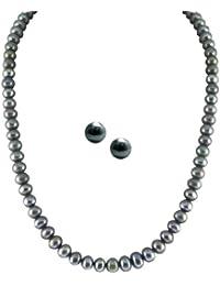 Sri Jagdamba Pearls Single Line Grey Pearl Set