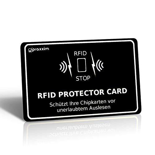 praxxim RFID Blocker Karte in schwarz/weiß - Effektiver Schutz gegen das Auslesen von Kreditkarten - Eine Schutzkarte sichert die gesamte Geldbörse - Ideale Alternative zu NFC und RFID Schutzhüllen (Kreditkarten-scan-schutz)