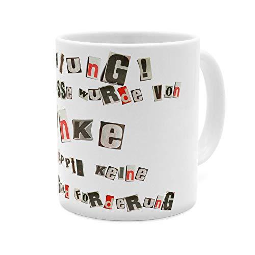 printplanet Tasse mit Namen Anke - Motiv Ausgeschnittene Buchstaben - Namenstasse, Kaffeebecher, Mug, Becher, Kaffeetasse - Farbe Weiß