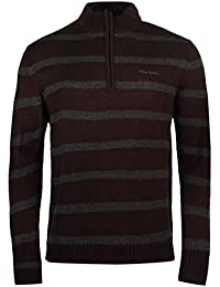 Pierre Cardin ¼ Zip Pull rayé pour homme Prune Pull Top