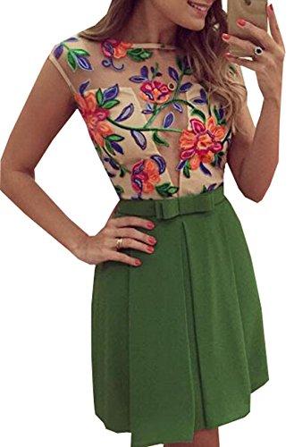 Donna a Moda Sexy Vestito Floreale Abito in Pizzo a Elegante Senza Maniche Abiti Trasparente Dress Vestito Verde
