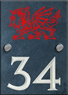 numbers and names by Atlantic Hardware Engraved Slate House Number Sign with engraved Welsh Dragon - 140mm x 100mm (B007VC1OQ4) | Amazon price tracker / tracking, Amazon price history charts, Amazon price watches, Amazon price drop alerts
