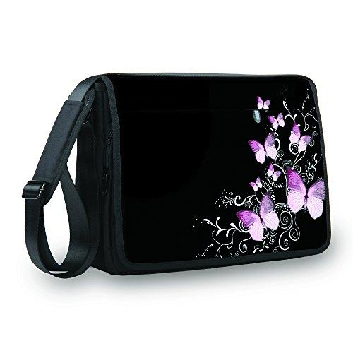 MySleeveDesign Messenger Bag Laptoptasche Notebooktasche mit Tragegurt - Tasche für Laptop & Notebook der Größen 13,3 Zoll / 14 Zoll / 15,6 Zoll / 17,3 Zoll - VERSCH. Designs - Butterfly Black - 15