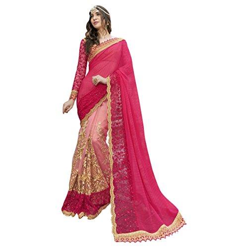 Aagaman Fashions indische Frauen orange Faux Georgette gestickte Saree, Sari (Georgette Top Perlen)