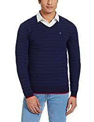 LP Louis Philippe Mens Cotton Sweater (8907545559920_LYSW516S18198_Medium_Dark Blue With Blue )
