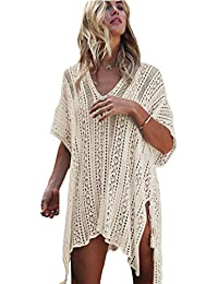 bc5651dc584a2 Women Pure V-Neck Bikini Overall Cover-ups Swimwear Crochet Hollow-Out  Tassels