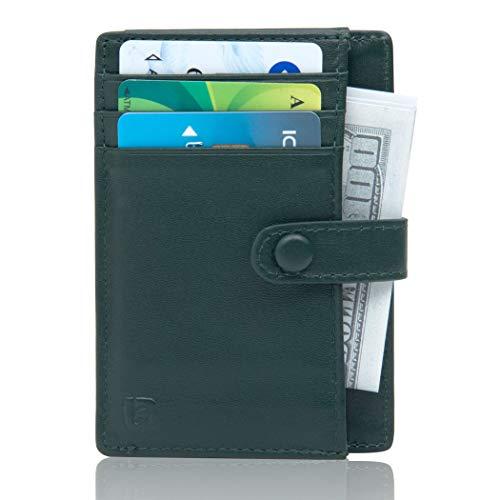 Lavievert Geldbörse mit RFID-blockierender Vordertasche, schmal, minimalistisch, Echtleder, Kreditkartenetui, für Damen und Herren, Grün