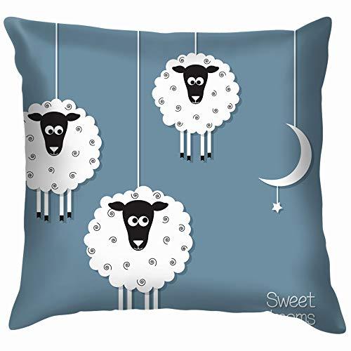 Cute Sheep Moon Paper Cut Out Animals Wildlife Soft Cotton Linen Cushion Cover Pillowcases Throw Pillow Decor Pillow Case Home Decor 18X18 Inch