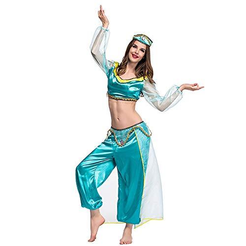 Genie Frauen Kostüm - Bauchtänzerin Arabische Prinzessin Genie Erwachsenen Schickkleid Kostüm Party Halloween Kostüm Damen Top mit Langen Hosen,Grün,XXL