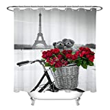 hdrjdrt Romantisches Paris Love Rose Duschvorhang Badezimmer Dekoration Duschvorhang wasserdicht undurchsichtig WC Trennwand Vorhang kreativ