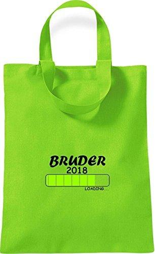 ShirtInStyle kleine Baumwolltasche BRUDER 2018 Loading Geburt Geschenk Lime