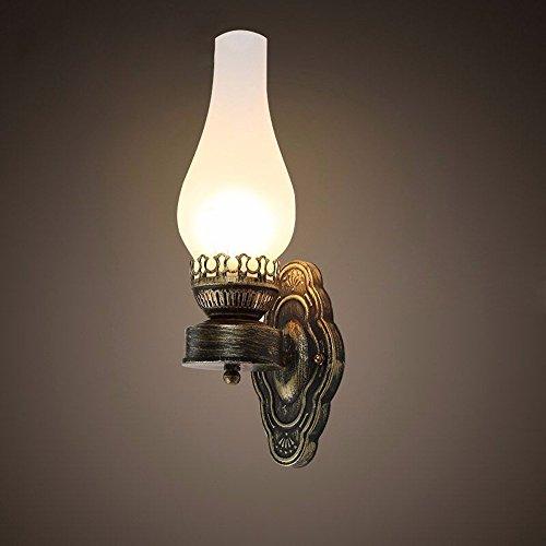 Classic Messing antik Petroleumlampe geformt 1 Licht Glas innen Wandleuchte Wandleuchte - Messing Classic Beleuchtung