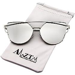 AMZTM Katzenauge Doppelt Metall Brücke Damen Sonnenbrille Mode Groß Rahmen Verspiegelt Silber Linsen Brille
