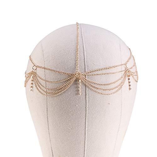 Lurrose Kristall Kopf Kette Stirnband Kopf Kette Schmuck mit Anhänger Haarschmuck für Frauen und...