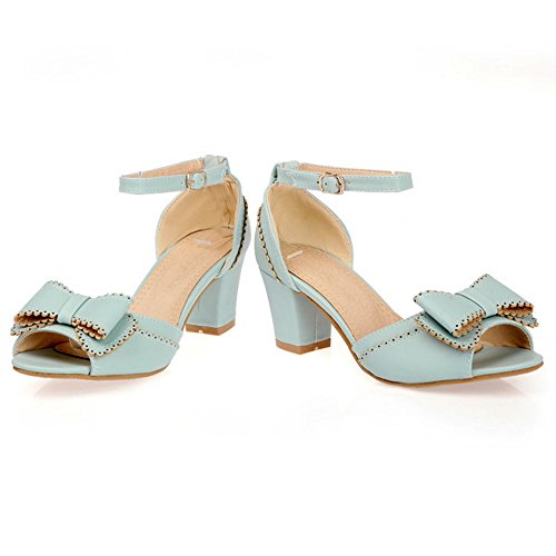 COOLCEPT Damen Mode Knochelriemchen Sandalen Blockabsatz Schuhe Mit Bogen  Blau ...