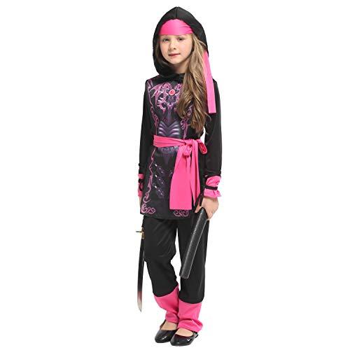 Jxth-Hal Mädchen Kostüm Kinder Samurai Naruto Kostüm spielt den Dienst Kinder Halloween Kostüm Mädchen Jungen Halloween Cosplay Kleid Kostüm 4-12 Jahre für Halloween Schulparty (Größe : XL)