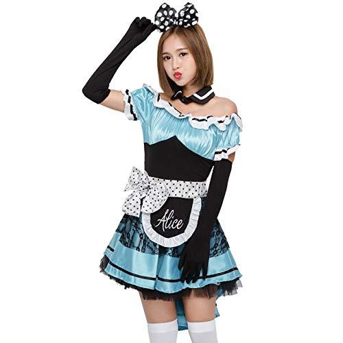 FHSIANN Teen Mädchen Halloween Alice Maid Princes Kostüm Sweet Cute Swallowtail Lace Blue Dress - Cute Maid Kostüm