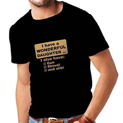 lepni.me Camisetas Hombre Tengo una Hija .- Día del Padre, Navidad, cumpleaños, Padre (Large Negro Oro)